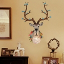 Clear Globe Wall Mount Light Crystal Single Light Vintage Wall Lighting with Resin Deer