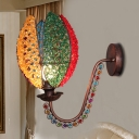 Petal Wall Lamp Modernist 1 Light Metal Curved Arm Wall Lighting with Jewelry in Antique Copper