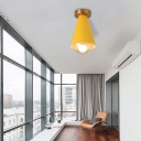 White/Pink/Yellow/Coffee Flush Mount Ceiling Light with Shade Modern Metal and Glass 1 Head Corridor Ceiling Light Fixture