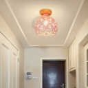1 Head Pink/Green/Gray Flush Mount Lighting with Global Metal Lampshade Nordic Flush Mount Lamp for Foyer
