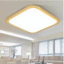 Wooden Squared Flush Ceiling Light Contemporary Acrylic 14