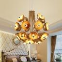 Gold/White Dome Chandelier Lighting Metal Shade Mid Century Modern Mulit Light Pendant Light