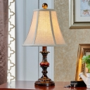 1-Light Bell Table Lighting Traditional Style Beige Fabric Shade Table Lamp for Bedside