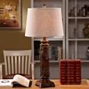 Cone Table Lighting with Leaf Pattern Beige Linen Shade Country Style Table Lamp in Brown