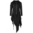 Mens Halloween Cosplay Split Asymmetric Hem Zip Up Black Long Hooded Jacket Coat