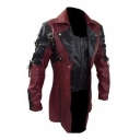 Mens Fashion Colorblocked Lace Up Side Long Sleeve Zipper PU Leather Biker Jacket