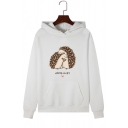 Cute Hedgehog Pattern Long Sleeve White Fleece Hoodie with One Pocket