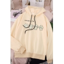 Cute Cat Japanese Letter Print Long Sleeve Thin Loose Pullover Hoodie for Women