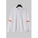 Simple Ladies Fluorescent Stripes Embellished Long Sleeve White Loose Hoodie
