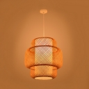Chinese Style Rattan Suspension Light Weave 1 Light Art Deco Hanging Ceiling Lamp in Wood