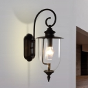 1 Light Lantern Wall Sconce Industrial Loft Vintage Clear Glass Shade Sconce Fixture in Black