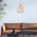 1 Light Crystal Hanging Light with Cylinder Metal Shade Modern Indoor Pendant Lamp for Foyer, 6