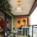 Blue Crystal Hanging Pendant Light 1 Bulb Modernism Suspension Light in Gold for Corridor