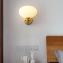 Milk Glass Oval Wall Mount Lamp Modern 1 Light Bedside Wall Sconce Light in Brass