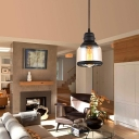 Black Mini Ceiling Pendant Light with Plug In Cord and On/Off Switch Industrial Cognac Glass 1 Light Drop Light