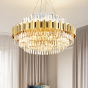 Multi-Tier Crystal Pendant Lights for Indoor, Modern Metal Round Chandelier Light in Gold