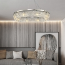8-Light Ring Hanging Lamps Modern Crystal Metal Chandelier in Chrome for Living Room