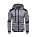 Casual Rib Cuffs Panel Long Sleeve Zipper Pullover Hoodie for Men