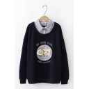 BUY YOUR SIDE Fried Egg Bread Embroidery Pattern False Two Pieces Panel Oversized Pullover Sweatshirt