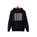 Fancy 1-800-JUST-MONIKA Printed Long Sleeve Black Drawstring Hoodie