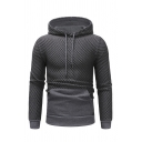 Drawstring Applique Checked Embossing Color Block Panel Pocket Hoodie