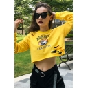 Popular ROCKMORE Letter Eagle Pattern Long Sleeve Ripped Yellow Cropped Sweatshirt