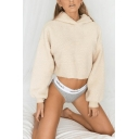 Winter Classic Plain Long Sleeve Fluffy Cropped Pullover Hoodie