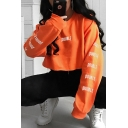 Orange DOUBLE Printed Long Sleeve Round Neck Casual Loose Cropped Sweatshirt