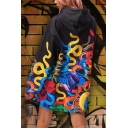 Hip Hop Colorful Graffiti Print Long Sleeve Longline Black Oversided Hoodie