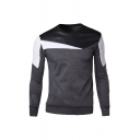 Fashionable Color Block Geometric PU Panel Round Neck Long Sleeve Casual Fitted Pullover Sweatshirt