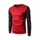 Autumn Popular Faux Leather Panel Long Sleeve Zipper Pocket Round Neck Casual Pullover Sweatshirt