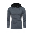 Mens Fashion Dark Gray Contrast Color Hood Button Front Long Sleeve Fitted Drawstring Hoodie