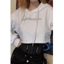 Stylish Reflective Letter ANAOBAI AMERICOM Printed Long Sleeve Loose Cropped Drawstring Hoodie
