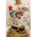 Cartoon Girl Rainbow Horse Printed Long Sleeve Round Neck Loose Cute Pullover Sweatshirt Top