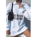 White Funny Letter BETWEEN SEASONS Printed Polo Collar Long Sleeve Casual Longline Pullover Sweatshirt