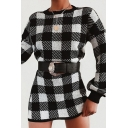 Winter Ladies Vintage Plaid Pattern Long Sleeve Mini Daily Dress