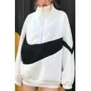 Womens Leisure Color Block High Collar Half Zip Long Sleeve Thick Oversized Boyfriend Sweatshirt
