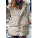 Plain White Fur-Trimmed Hood Long Sleeve Zip Up Puffer Parka Coat with Pocket