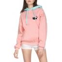 Cute Black Cat Printed Long Sleeve Color Blocked Drawstring Hood Long Sleeve Pink Oversized Pullover Hoodie