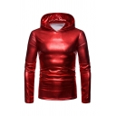 Mens Fashion Plain Iridescent Long Sleeve Slim Fit Disco Nightclub Style Pullover Hoodie