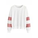 Popular Varsity Striped Long Sleeve Loose Fit White Pullover Sweatshirt