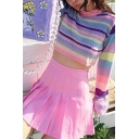 Womens Chic Colorful Striped Long-Sleeved Mock Neck Cropped Pullover Sweater