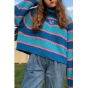 Girls Fashionable Blue And Pink Stripe Turtleneck Drop-Shoulder Long Sleeve Boxy Casual Pullover Chunky Sweater