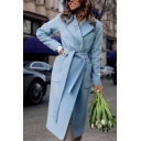 Plain Light Blue Big Pocket Decoration Long Sleeve Tied Waist Chic Longline Wool Coat