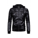 Mens Classic Stand Collar Long Sleeve Flap Pocket Full Zip Solid Color PU Thick Jacket with Hood