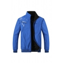 Guys Popular Letter RAN-TU Printed Long Sleeve Zipper Blue Reversible Track Jacket Coat