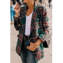 Color Block Checked Long Sleeve Lapel Collar Double Breasted Flap Pocket Casual Commuting Blazer Coat