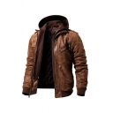 Mens Casual Plain Leather Stand Collar Double-Zip Slim Fit PU Motorcycle Jacket Hooded Coat