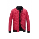 Mens Stylish Stand Collar Long Sleeve Button Decoration Zip Up Slim Fit Red Quilted Baseball Jacket