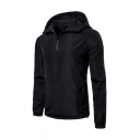 Mens Leisure Half Zip Long Sleeve Slim Fit Plain Black Hooded Track Jacket Hoodie